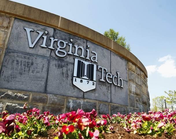 A Virginia Tech sign is seen on the campus of Virginia Tech in Blacksburg