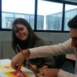 Amandine et Tony en train de peindre