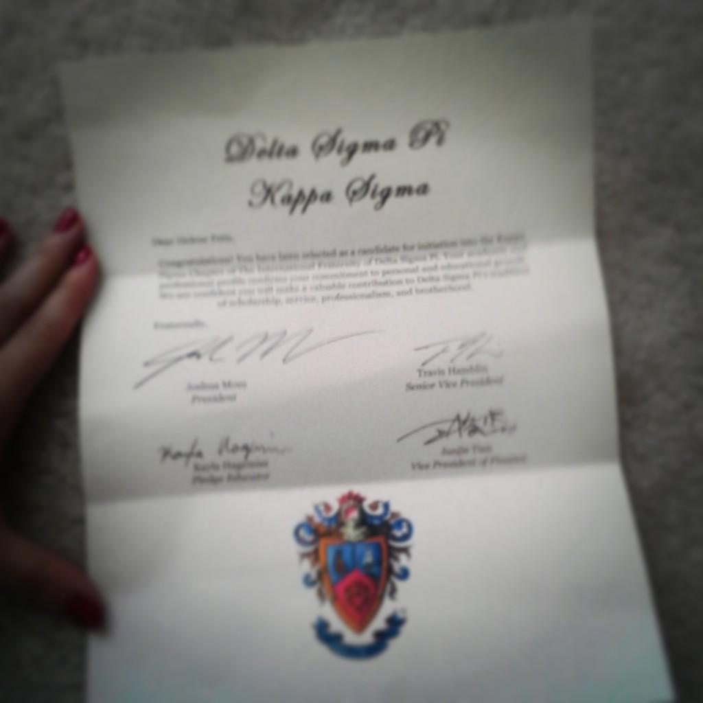 Ma lettre d'acceptation dans le pledgship