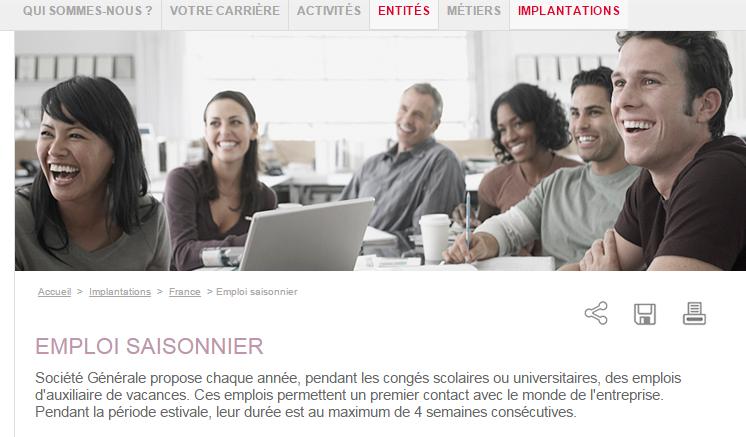 Capture écran site Société Générale