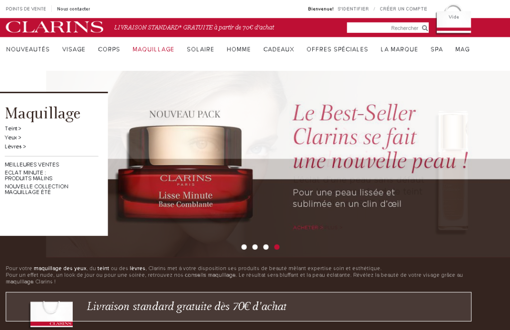 Capture d'écran du site internet Clarins